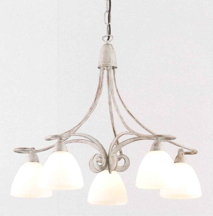 1730 LAMPADARIO 5 LUCI IN FERRO DECORATO LAM EXPORT 1730-5 ...