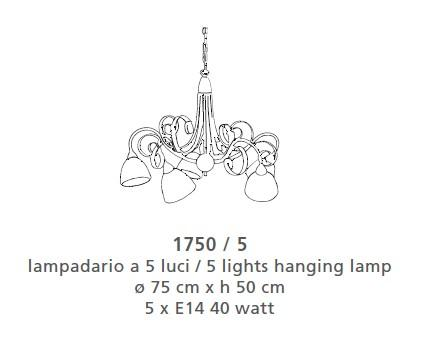 1750 CHANDELIER 5 LIGHTS Classic suspended lamps