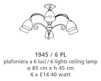 CEILING LAMP 6 LIGHTS Classic overhead lights