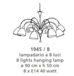 1945 CHANDELIER 8 LIGHTS Classic suspended lamps