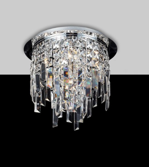 2188 LAMP ROUND METAL CHROME WITH CHAINS CRYSTAL Crystal overhead lights