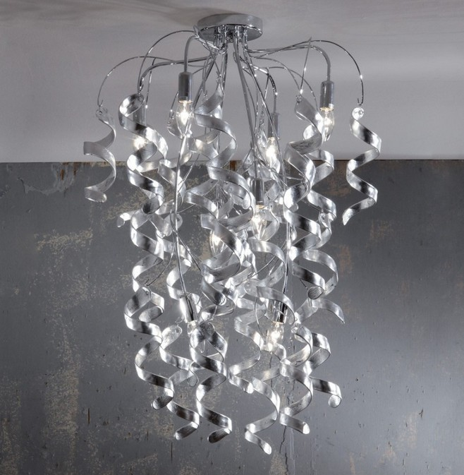 271/8 CEILING WITH CURLS IN GLASS SILVER LEAF Ultramodern overhead lights