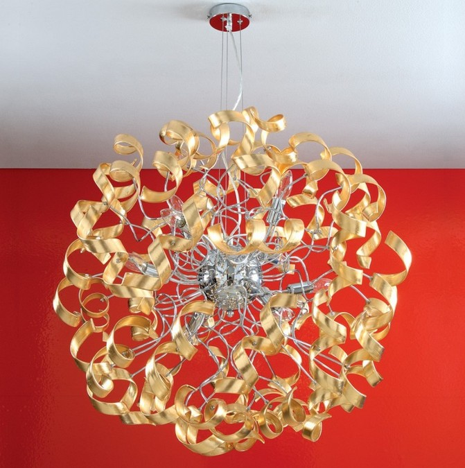 273 / SG GOLD LEAF SUSPENSION WITH CURLS IN GLASS Ultramodern hanging lamps