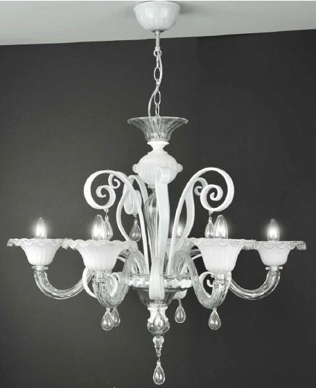 MURANO CHANDELIER 5 LIGHTS Suspended Murano lamps