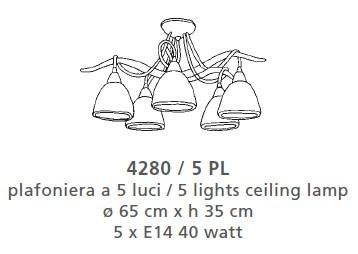 4280 CEILING LAMP 5 LAMP Classic overhead lights