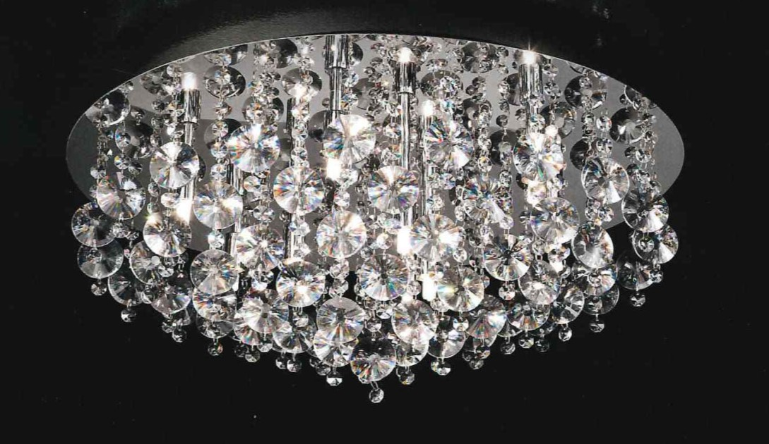 GREAT LIGHT IN POLISHED CHROME CRYSTAL Crystal overhead lights