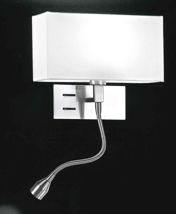 Applique in cromo con paralume e led perenz 5882 - Camera da letto con applique ...
