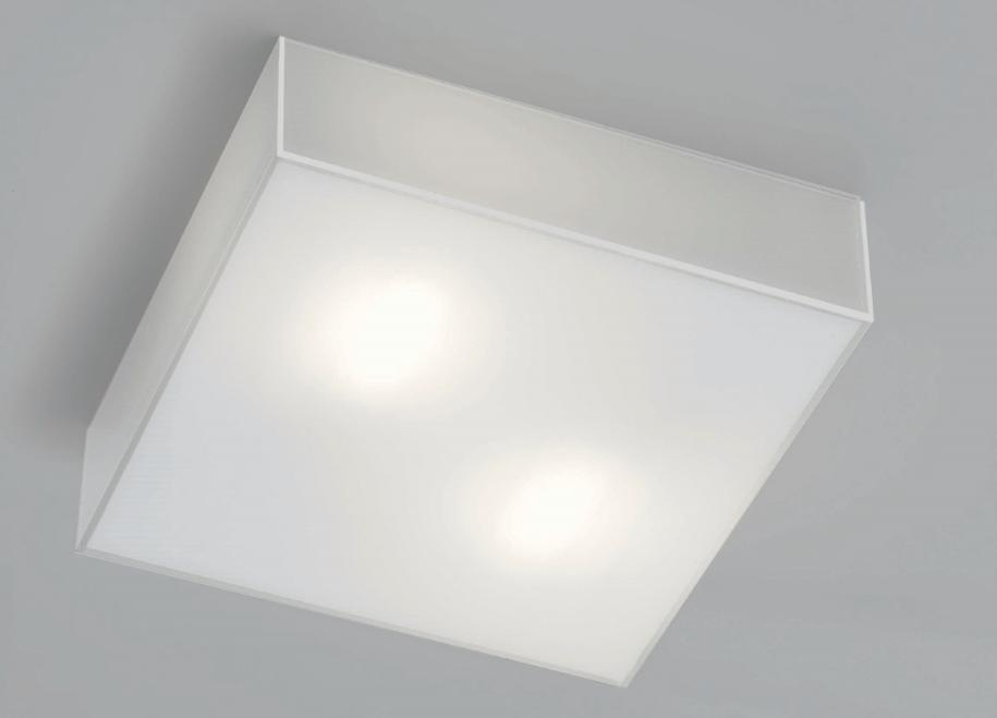 CUBIC SMALL WHITE MILK GLASS CEILING LIGHT IN POLISHED Modern overhead lights