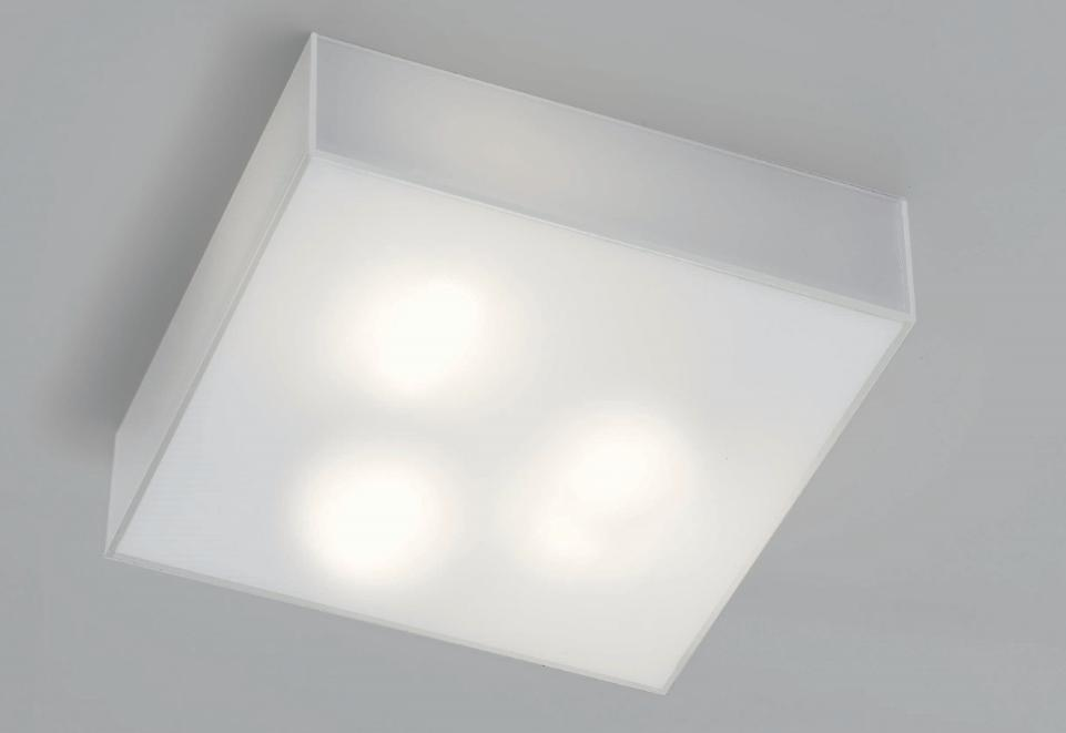 CUBIC AVERAGE WHITE MILK GLASS CEILING LIGHT IN POLISHED Modern overhead lights