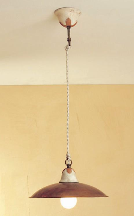 EMMA SUSPENSION OF BRASS AND CERAMIC Rustic suspended lamps
