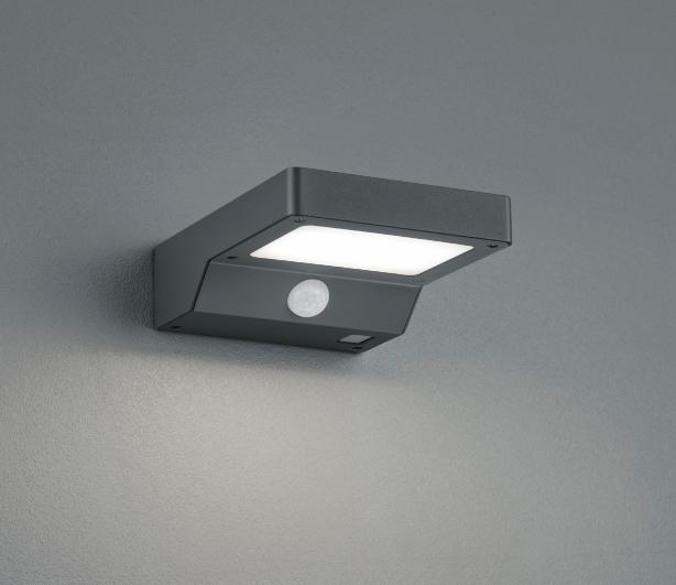 Fomosa Ip44 Outdoor Wall Lamp With Solar Energy And Anthracite Motion Sensor Led 4 8w Trio Lighting Fomosa Ap Exterior Lamp Led With Solar Panel
