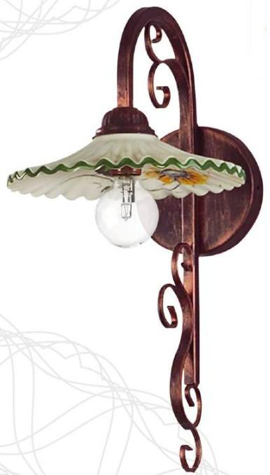 R 9142 WALL LAMP CERAMIC DECORATED Rustic wall lights