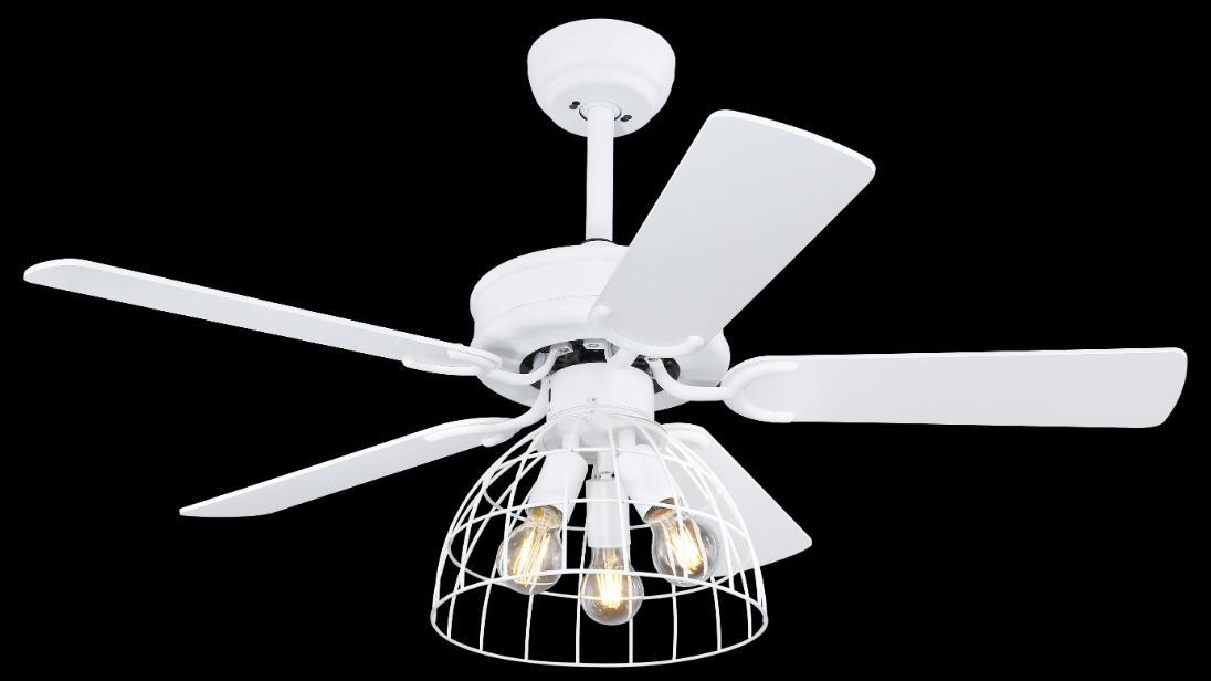 Sallie Modern White Ceiling Fan With Cage And 5 Reversible Blades With Remote Control Globo Lighting 0346 Modern Ceiling Fans With Light