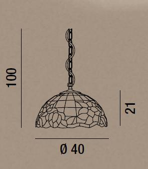 T616-S SUSPENDED IN TIFFANY GLASS DIAMETER 40 Suspended Tiffany lamps
